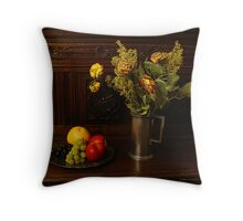 Withered Flowers & Fresh Fruit Throw Pillow