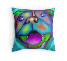 acrylic happy pit bull Throw Pillow