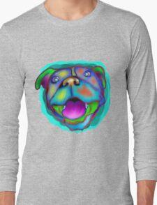 acrylic happy pit bull Long Sleeve T-Shirt