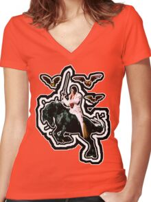 Heavy Metal Elvis Summons the Bats... now with Sonic Shockwave Women's Fitted V-Neck T-Shirt