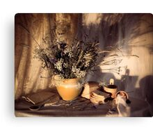 Evening still Life c with wildflowers Canvas Print