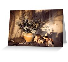 Evening still Life c with wildflowers Greeting Card