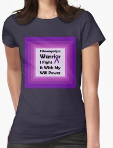 Fibromyalgia Purple Ribbon Colours: Will Power Womens Fitted T-Shirt