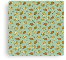 Nuts almonds and pistachios pattern Canvas Print