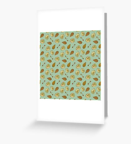 Nuts almonds and pistachios pattern Greeting Card