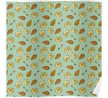 Nuts almonds and pistachios pattern Poster