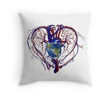 "Anatomical Kind ""Earth Heart"" Medical Circulatory Get Well Kindness Throw Pillow"