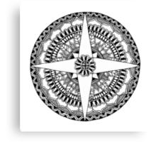 Black and White Compass Mandala Canvas Print
