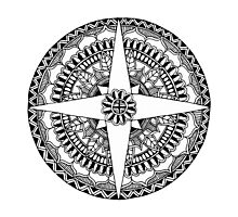 Black and White Compass Mandala Photographic Print