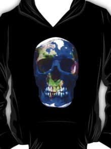 """LuxeMyth"" Human-Caused Climate Change Earth Skull  T-Shirt"