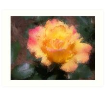 Oil Pastel Rose Art Print