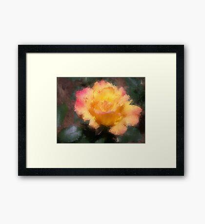 Oil Pastel Rose Framed Print