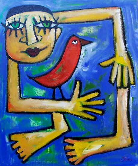 THE  LOVEBIRD  GOES  TO  YOGA  CLASS   by ART PRINTS ONLINE         by artist SARA  CATENA