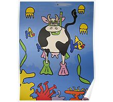 Mad Cow goes diving Poster