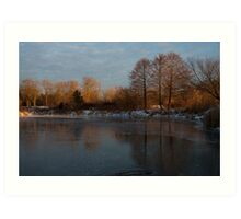 Gray and Amber - an Early Winter Morning on the Lake Shore Art Print