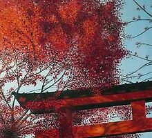 Red Leaves and Torii by Michael Beddall