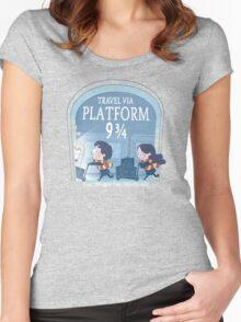 Travel via Platform 9 3/4 Women's Fitted Scoop T-Shirt