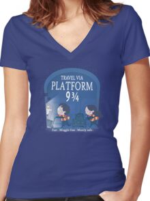 Travel via Platform 9 3/4 Women's Fitted V-Neck T-Shirt