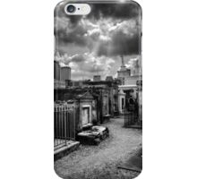 Cloudy Day at St. Louis Cemetery in Black and White iPhone Case/Skin