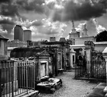 Cloudy Day at St. Louis Cemetery in Black and White by Greg and Chrystal Mimbs