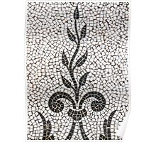 Ancient Plant Mosaic Tile Pattern Poster