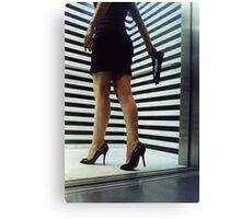 Sensual young woman in stilettos night analogue darkroom print Canvas Print