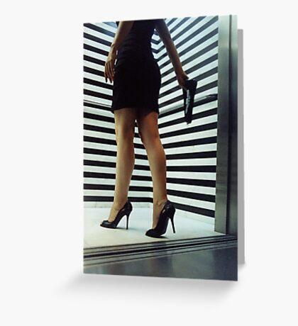 Sensual young woman in stilettos night analogue darkroom print Greeting Card