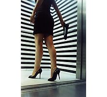 Sensual young woman in stilettos night analogue darkroom print Photographic Print