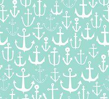 Anchors - Mint - Cute summer nautical pattern in mint and white by Andrea Lauren by Andrea Lauren