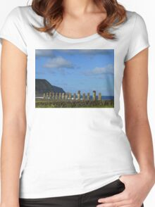 Ahu Tongariki, Easter Island Women's Fitted Scoop T-Shirt