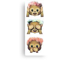 see no evil monkey emoji hipster flower crown tumblr Canvas Print