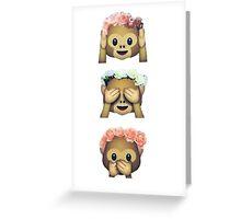 see no evil monkey emoji hipster flower crown tumblr Greeting Card