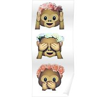 see no evil monkey emoji hipster flower crown tumblr Poster