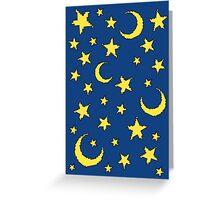 Yellow Pixel Star Pattern Greeting Card