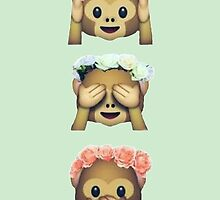 see no evil monkey emoji hipster flower crown tumblr by alyciathefox