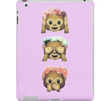 see no evil monkey emoji hipster flower crown tumblr iPad Case/Skin