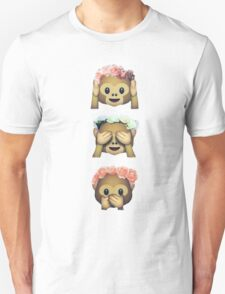 see no evil monkey emoji hipster flower crown tumblr T-Shirt