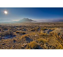 Sun rising over the fog in the desert Photographic Print