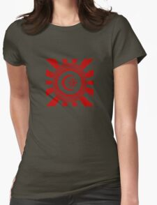 Mandala 34 Version 2 Yin-Yang Colour Me Red  Womens Fitted T-Shirt