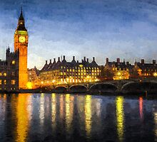 Westminster Bridge and Big Ben Art by DavidHornchurch