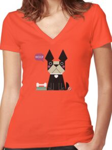 Woof Women's Fitted V-Neck T-Shirt