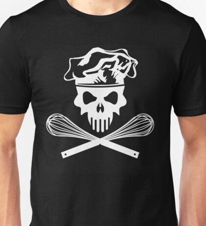 White Baker Skull and Crossed Whisks Unisex T-Shirt