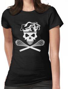 White Baker Skull and Crossed Whisks Womens Fitted T-Shirt
