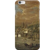 JACOB WILLEMSZ. DE WET - A PANORAMIC VIEW OF AN ITALIAN CITY WITH CLASSICAL BUILDINGS ALONG A RIVER iPhone Case/Skin