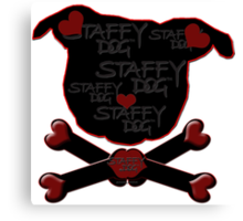 Staffy Dogs Head-Shape and Crossbones of Love Canvas Print