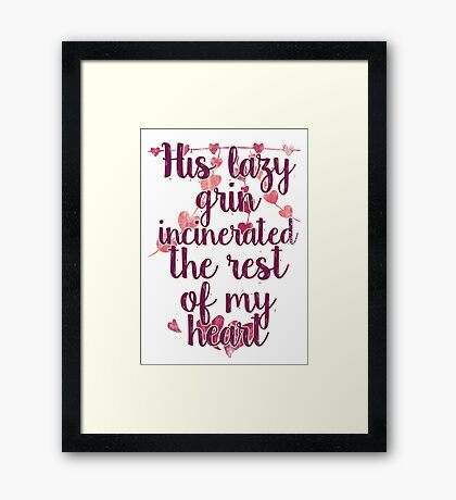 his lazy grin Framed Print