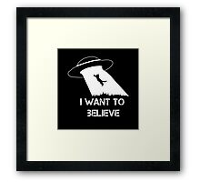 I want to believe - cat abduction Framed Print