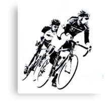 Black & White Cyclists into the Turn Canvas Print