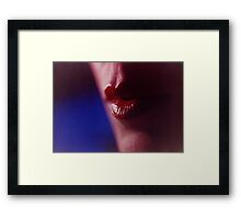 Young lady with sensual red lips makeup beauty analog portraits Framed Print