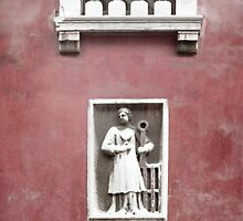 Venetian Balcony and Sculpture on Marsala Wine Red by BrookeRyanPhoto